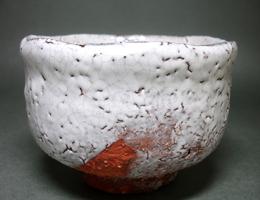 十一代三輪休雪作白萩茶碗